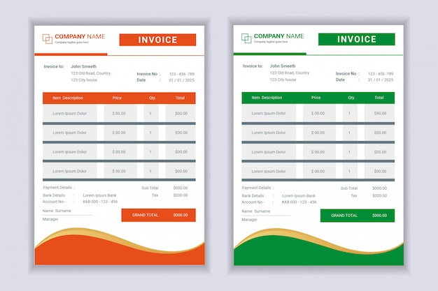 Formulaires De Facture De Facture Professionnelle Vecteur Premium
