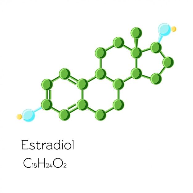 Formule chimique structurelle de l'hormone estradiol isolée Vecteur Premium