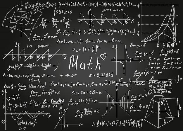 Formules Mathématiques Mathématiques Dessinées à La Main Sur Le Tableau Noir Pour Le Fond. Illustration. Vecteur Premium