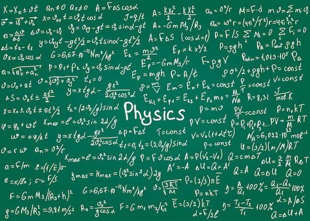 Formules De Physique Dessinées à La Main Sur Un Tableau Vert Pour Le Fond. Illustration. Vecteur Premium