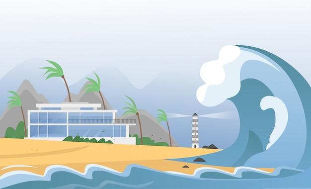 Forte Catastrophe Naturelle Avec Brouillard Et Vagues De Tsunami De L'océan Avec Maison, Montagnes, Palmiers Et Phare. La Vague De Tsunami Sismique Frappe L'illustration De La Plage De Sable. Vecteur Premium