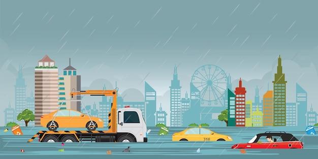 Fortes gouttes de pluie et inondation de la ville sur la ville. Vecteur Premium