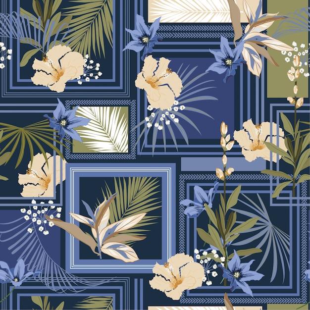 Foulard en soie beau modèle tropical sombre tendance à la mode avec forêt exotique de cadre moderne. Vecteur Premium