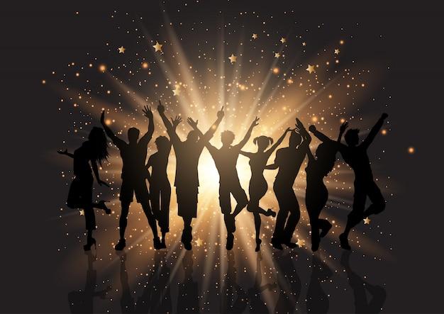 Foule de fête sur un fond de starburst Vecteur gratuit