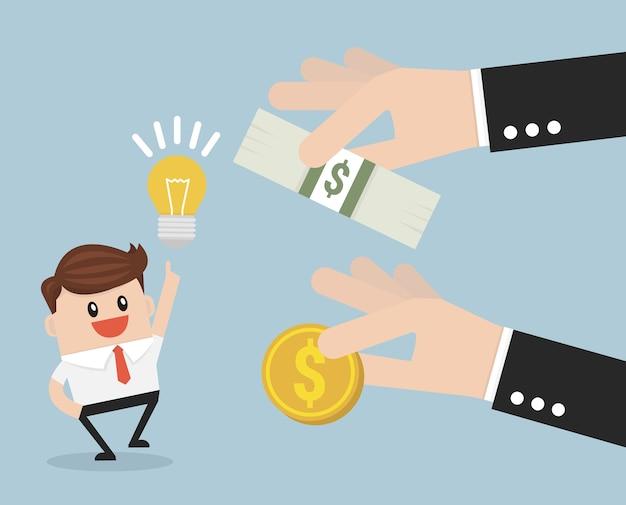 Foule financement concept des investisseurs. Vecteur Premium