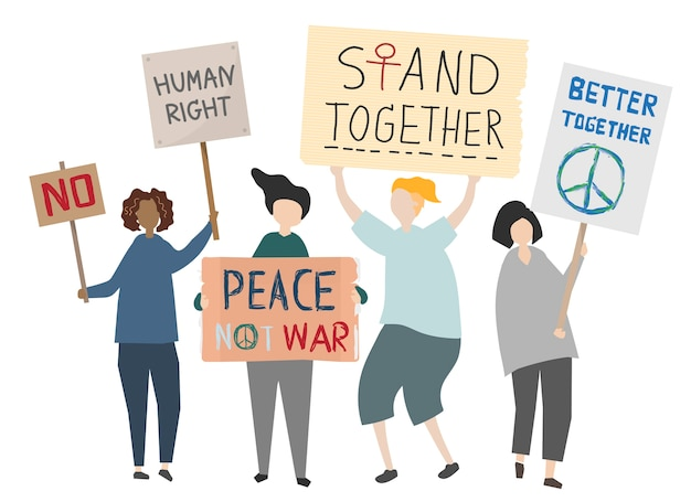 Foule de manifestants rassemblant illustration Vecteur gratuit