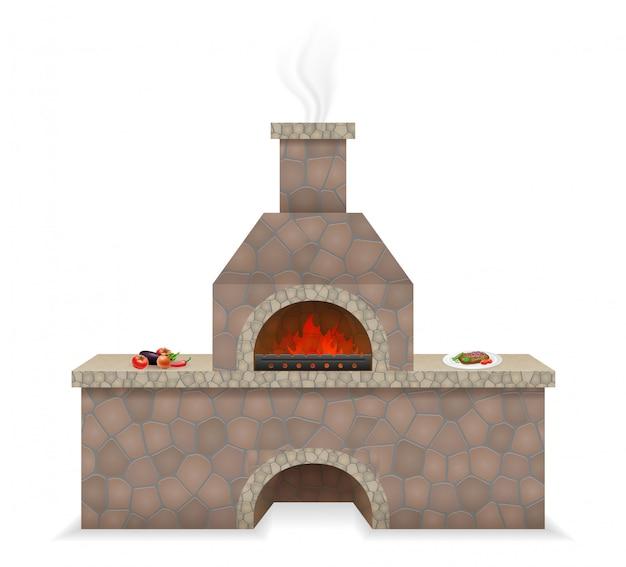 Four à barbecue en pierre Vecteur Premium