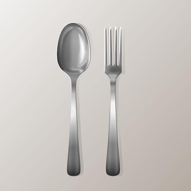 Fourchette et cuillère réalistes. ensemble d'ustensiles en acier inoxydable. Vecteur gratuit