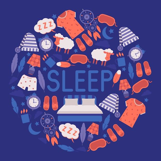 Fournitures pour le sommeil et la chambre concept d'équipement et de vêtements de nuit. masque et chapeau de sommeil, pyjama, horloge, veilleuse, tasse de boisson chaude. Vecteur Premium