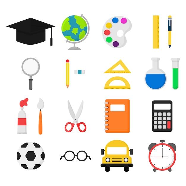 Fournitures scolaires. bus, calculatrice, loupe, gomme, stylos, brosse, ciseaux, règle, ordinateur portable, globe, aquarelle, lunettes et autres. articles d'éducation isolés Vecteur Premium