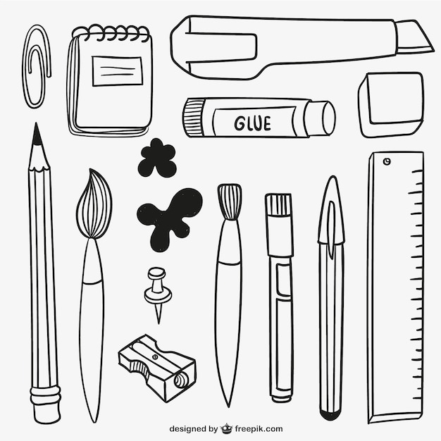 Fournitures scolaires dessinés à la main Vecteur gratuit
