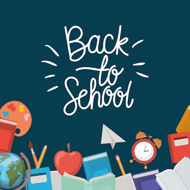 Fournitures scolaires retour au cadre scolaire Vecteur gratuit