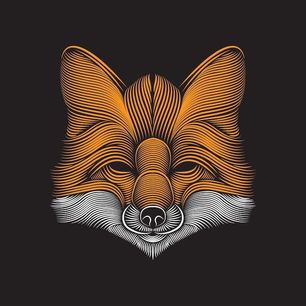 Fox art dessin illustration Vecteur Premium