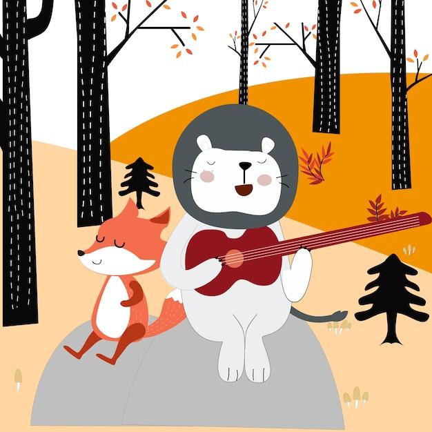 Fox Loup Et Ours En Peluche Dessin Anime Jouant De La Guitare