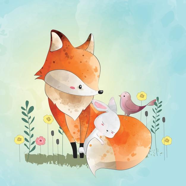 Fox et ses amis Vecteur Premium
