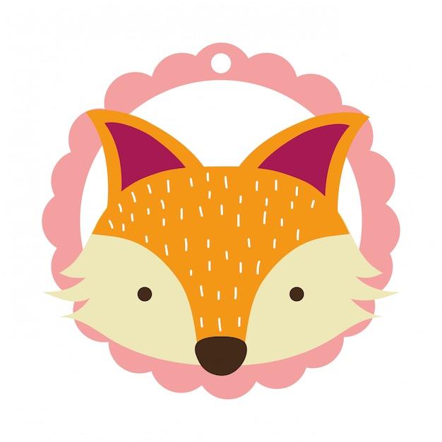 Fox seul visage Vecteur Premium