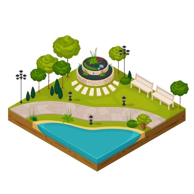 Fragment isométrique du paysage du parc Vecteur gratuit