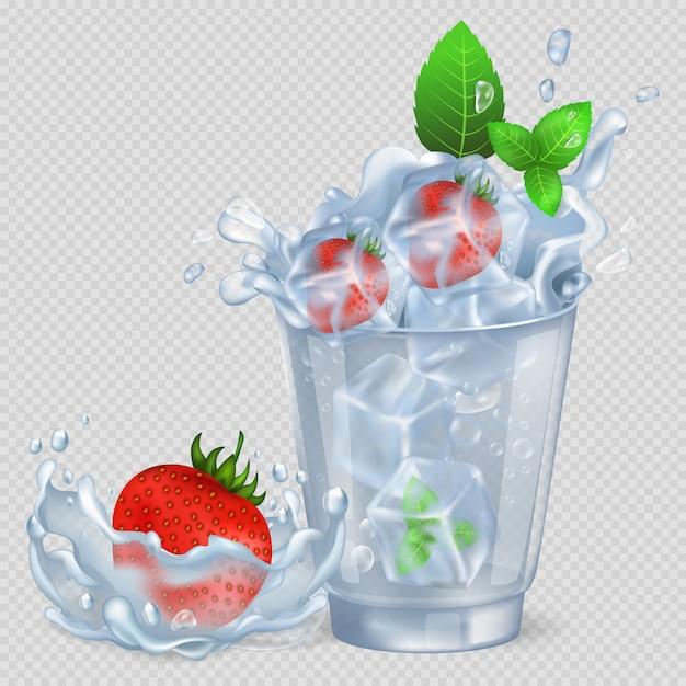 Fraise congelée et menthe dans un verre avec de l'eau Vecteur Premium