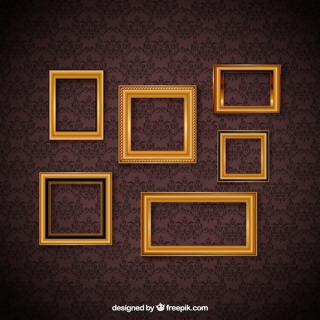 Frame set vintage et papier peint décoratif Vecteur gratuit