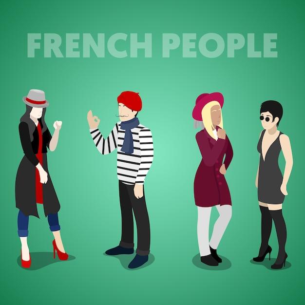 Français Isométrique En Vêtements Traditionnels. Illustration De Plat 3d Vectorielle Vecteur Premium