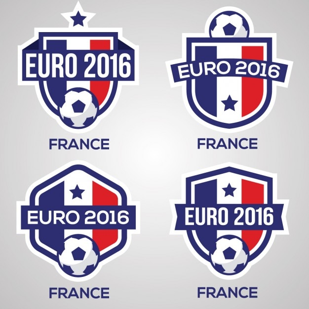 En France Badges De Football Vecteur gratuit
