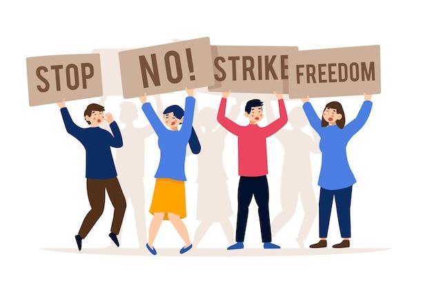 Frappez Et Sauvez La Liberté Arrêtez Le Concept De Racisme Vecteur gratuit