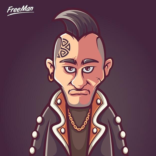 Free Man Punk Rock Music Vecteur Premium