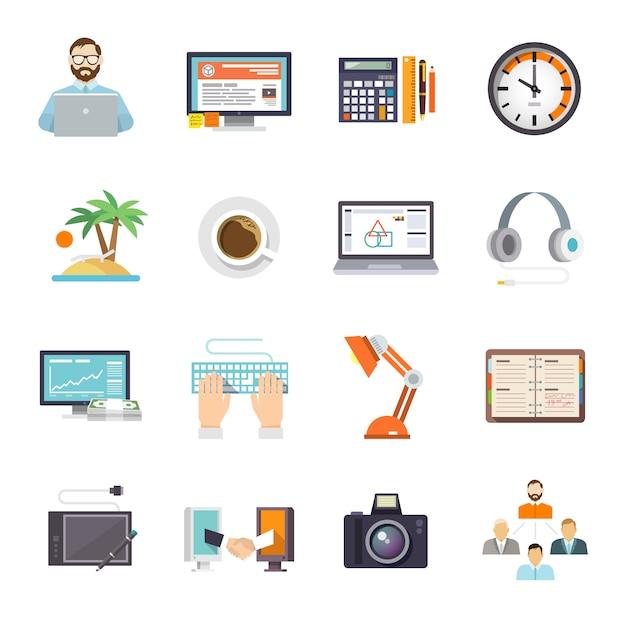 Freelance icon flat Vecteur gratuit