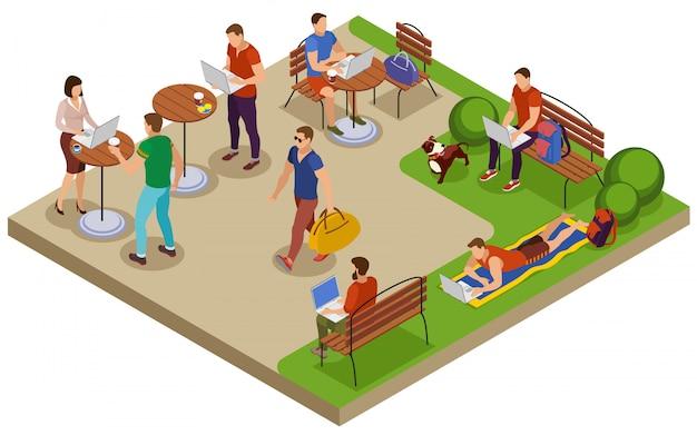 Freelancer Composition D'été Isométrique Typique Jour Avec Lieu De Travail En Plein Air Dans Le Parc De La Ville Table De Café De Pelouse Vecteur gratuit