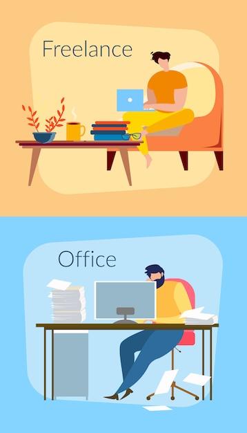 Freelancer Man At Home Avec Un Cahier Vecteur gratuit