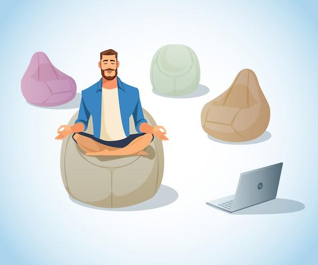 Freelancer meditating in bag chair vecteur de dessin animé Vecteur Premium