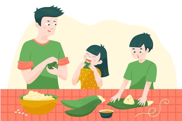 Frères Et Sœurs Et Père Préparant Et Mangeant Des Zongzi Vecteur gratuit