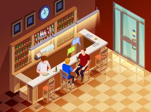 .friends in bar interior isometric view Vecteur gratuit