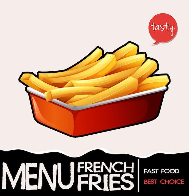 Frites dans un plateau rouge Vecteur gratuit
