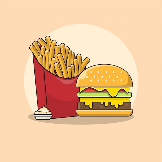Frites Et Hamburger Avec Illustration De Mayonnaise. Concept De Clipart De Restauration Rapide Isolé. Vecteur De Style Dessin Animé Plat Vecteur Premium