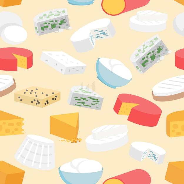 Fromage seamless pattern Vecteur gratuit