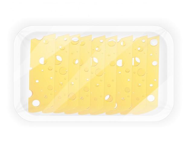 Fromage En Tranches Dans L'illustration Vectorielle Paquet Vecteur Premium