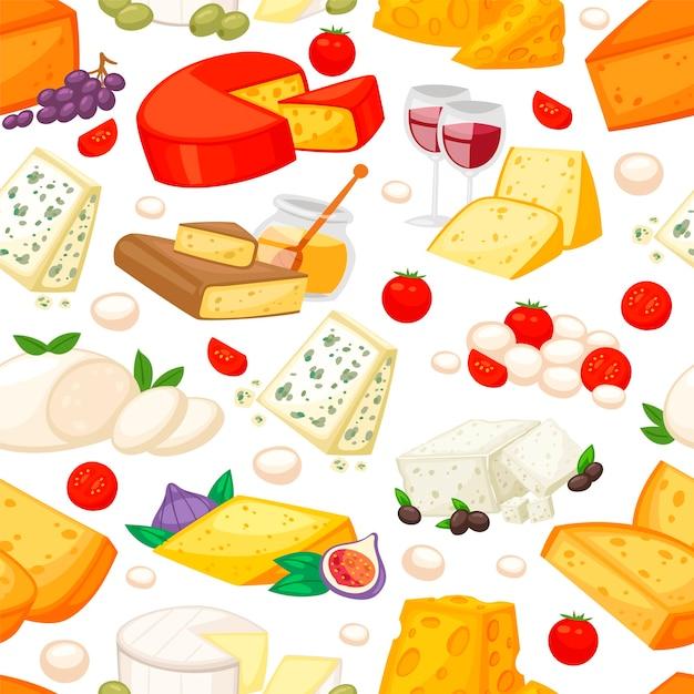 Fromages à L'edam Maasdam Parmesan Et Dorblue Vecteur Premium