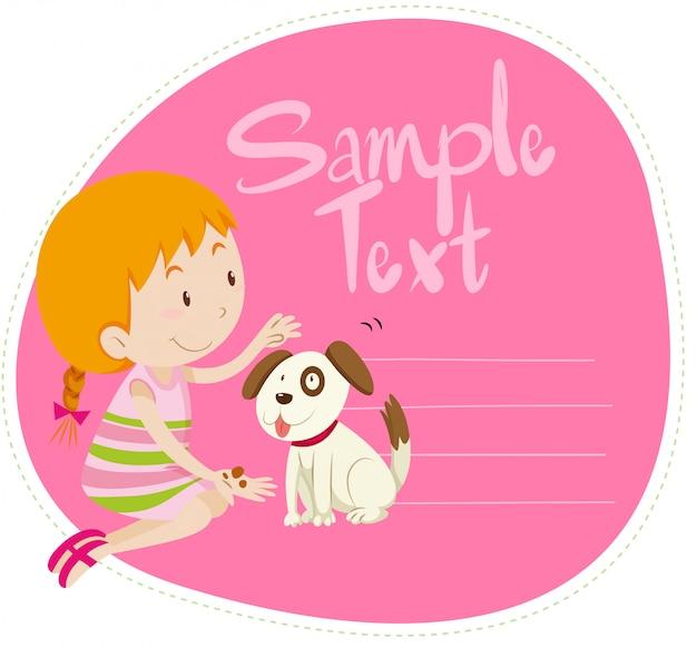 Frontière avec fille et chien Vecteur gratuit