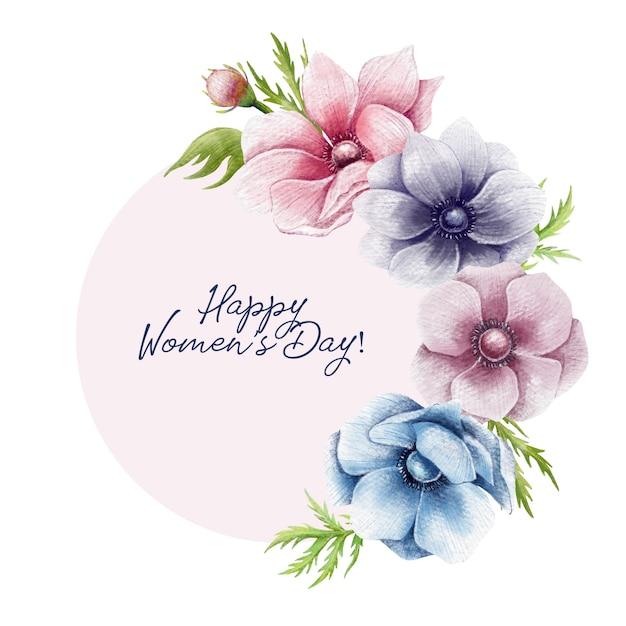 Frontière florale des femmes heureux jour Vecteur Premium