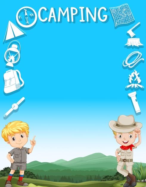 Frontière avec des garçons en tenue de camping Vecteur gratuit