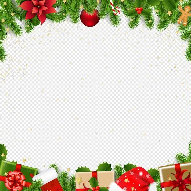 Frontière De Noël Avec Sapin Sur Transparent Vecteur Premium