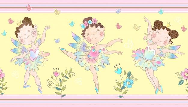 Frontière sans couture avec mignonnes petites fées magiques. Vecteur Premium