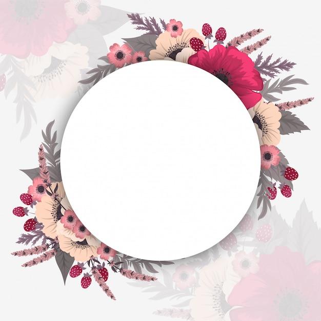 Frontières de cercle de fleurs Vecteur gratuit