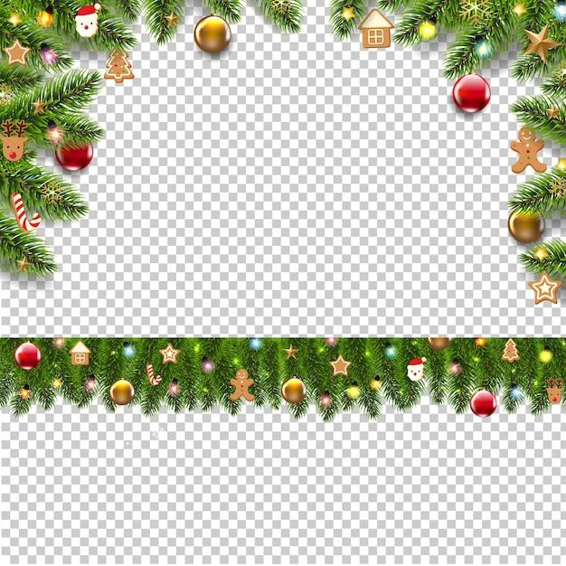 Frontières De Sapin De Noël Avec Des Jouets De Noël Vecteur Premium