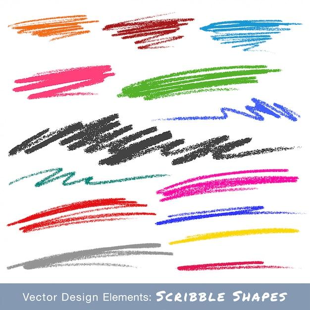 Frottis De Gribouillis Colorés. Dessiné à La Main Au Crayon. Vecteur Vecteur Premium