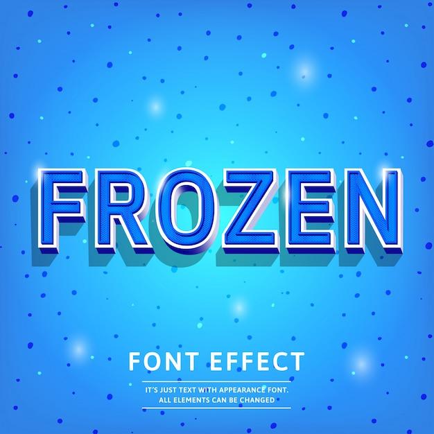 Frozen blue effet de texte 3d vintage élégant dans les couleurs froides Vecteur Premium
