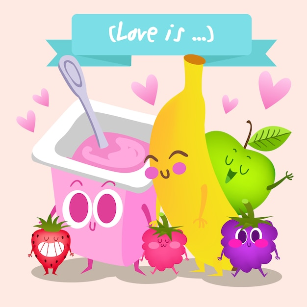 Fruit et fond de yaourt Vecteur gratuit