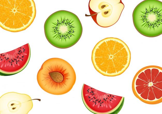 Le fruit à moitié coupé a une variété de types. melon d'eau, oranges, pommes, beaucoup. illustrations vectorielles Vecteur Premium