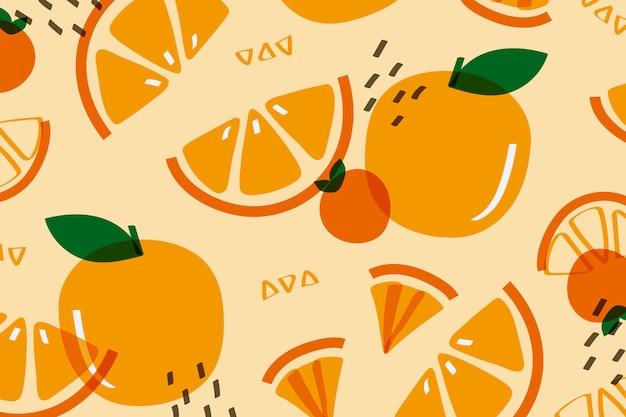 Fruit D'orange Façon Memphis Vecteur gratuit